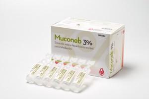 Muconeb 3%, solución salina hipertónica estéril para inhalación.